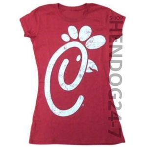 CHICK FILA DISTRESSED LOGO WOMEN'S FITTED CAP TEE